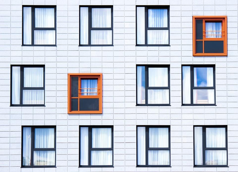 budova, okná